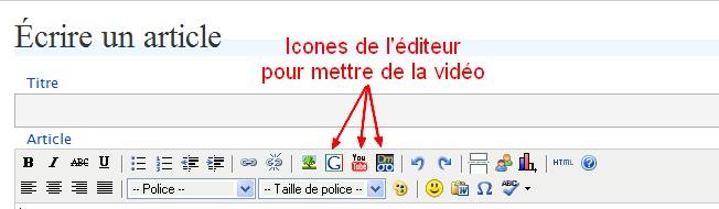 icones vidéos de la barre d'outils de l'éditeur