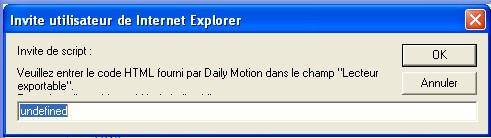 Fenêtre d'invite Daily Motion