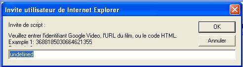 fenêtre d'invite Google Vidéo