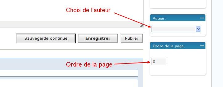 Choisir l'auteur et l'ordre de la page